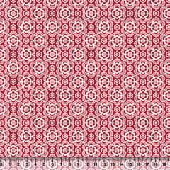 Tecido Tricoline Coleção Composê Ideal Vermelho - Flores