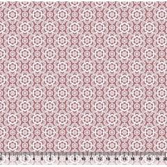 Tecido Tricoline Coleção Composê Ideal Rosa Chá - Flores