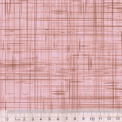 Tricoline Coleção Riscadinho Rústico - Rosa c/ Marrom