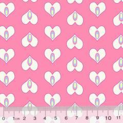 Tecido Tricoline Coração Formas - Rosa