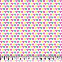Tricoline Corações Coloridos - Rosa e Amarelo