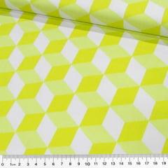 Tecido Tricoline Cubos Geométricos - Amarelo Neon