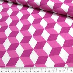 Tecido Tricoline Cubos Geométricos - Rosa Pink