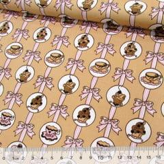 Tecido Tricoline Cupcake e Laços - Bege