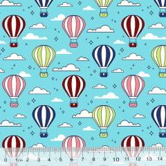 Tricoline Des. Balões No Céu - Azul Claro