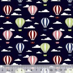 Tricoline Des. Balões No Céu - Azul Marinho