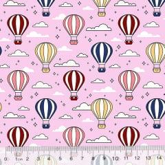 Tecido Tricoline Des. Balões No Céu - Rosa Claro