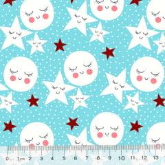 Tricoline Des. Estrelas e Luas Contentes - Azul Claro
