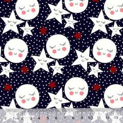 Tricoline Des. Estrelas e Luas Contentes - Azul marinho