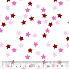 Tricoline Des. Estrelinhas Coloridas - Rosa Claro