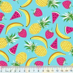 Tecido Tricoline Des. Frutas Mix - Azul Claro - 100% Algodão - Largura 1,50m