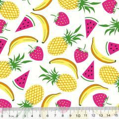 Tricoline Des. Frutas Mix - Branco