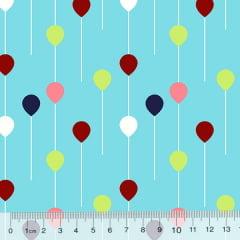 Tricoline Des. Pequenos Balões - Azul Claro
