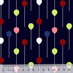 Tricoline Des. Pequenos Balões - Azul Marinho