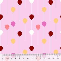Tecido Tricoline Des. Pequenos Balões - Rosa Claro