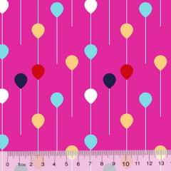 Tecido Tricoline Des. Pequenos Balões - Rosa Pink