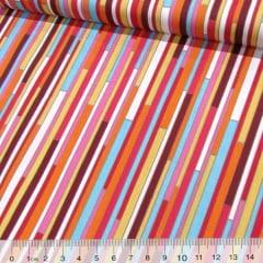 Tecido Tricoline Fitas Coloridas - Vermelho