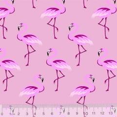 Tecido Tricoline Flamingos Elegância - Rosa Candy