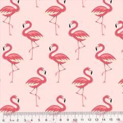 Tecido Tricoline Flamingos Elegância - Rosa Claro