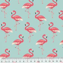 Tricoline Flamingos Elegância - Turquesa