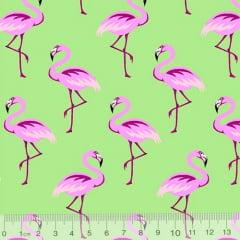 Tecido Tricoline Flamingos Elegância - Verde Limão