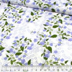 Tricoline Flor e Folhas - Azul