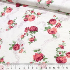 Tecido Tricoline Floral Col. Libela - Flores Maiores - Marsala
