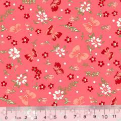 Tecido Tricoline Floral Delicatte Borboletas - Rosado