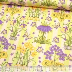 Tecido Tricoline Floral Garden Mystic