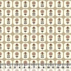 Tecido Tricoline Floral Janelinha - Fundo Bege Escuro