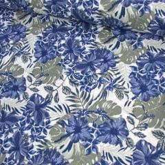 Tecido Tricoline Floral Jardim de Hibisco - Azul