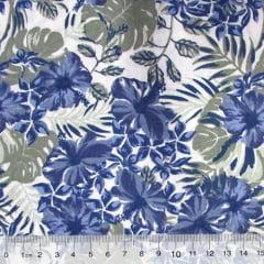 Tricoline Floral Jardim de Hibisco - Azul