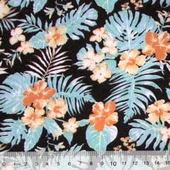 Tricoline Floral Jardim de Hibisco - Colorido