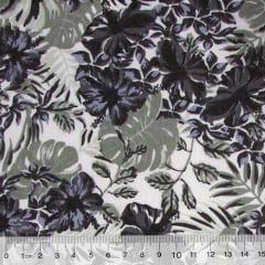 Tecido Tricoline Floral Jardim de Hibisco - Preto - 100% Algodão - Largura 1,50m