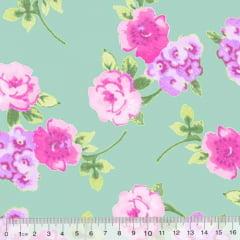 Tecido Tricoline Floral Primavera Génova - Turquesa