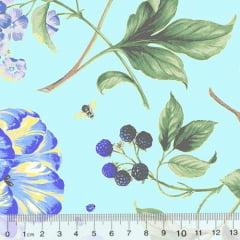 Tricoline Floral Primavera Livorno - Azul