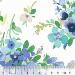 Tricoline Floral Primavera Monza - Azul