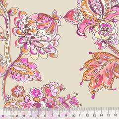 Tecido Tricoline Floral Primavera Turim - Bege
