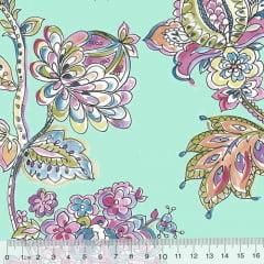 Tricoline Floral Primavera Turim - Turquesa
