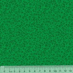 Tricoline Floral - Raminhos Fundo Verde Tons