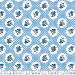 Tricoline Floral Ruby Poá - Azul
