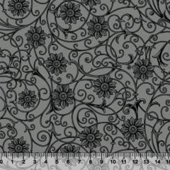 Tecido Tricoline Floral Soul - Preto