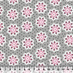 Tecido Tricoline Floral Stella - Cinza - 100% Algodão - Largura 1,50m