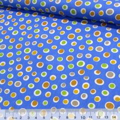Tricoline Formas Circulares Coloridas - Fundo Azul