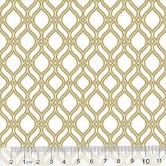 Tricoline Formas Grid - Branco c/ Dourado