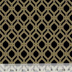 Tricoline Formas Grid - Preto c/ Dourado