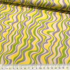 Tecido Tricoline Formas Wave - Amarelo e Cinza