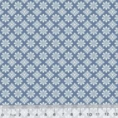 Tecido Tricoline Garden Unity - Arábico - Azul Antigo (Largura: 1,50 m)
