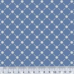 Tricoline Garden Unity - Mini Flor - Azul Antigo (Largura: 1,50 m)