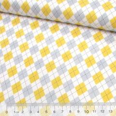 Tricoline Geométricos Losangos Modernos - Amarelo e Cinza